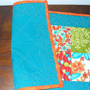 Patchwork Table Runner Quilted Teal Orange RQQ