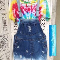 Short Overalls Shortalls Dungarees Destroyed Frayed Dip Dyed Festival Hipster Size Large Farmers Bib Jeans //Suznews Etsy Store//