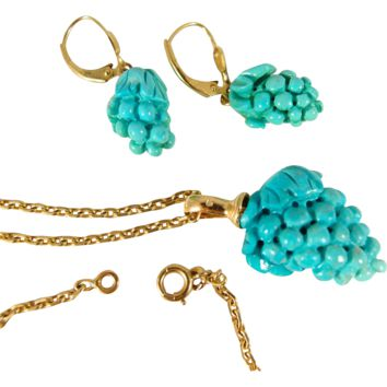 Stunning three-dimensional natural turquoise set in 18K stamped solid gold, necklace and earrings suite