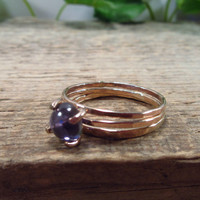 Claw Ring Pink Gold Filled with Iolite Set of 3