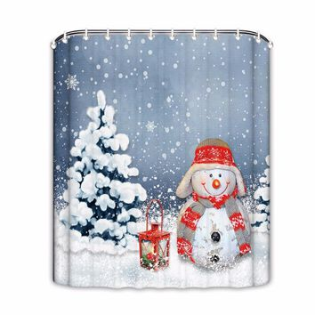 Christmas Shower Curtains Snowflakes Snowman Bathroom Shower Curtain Waterproof Shower Curtain Bathroom Products Holiday Decor