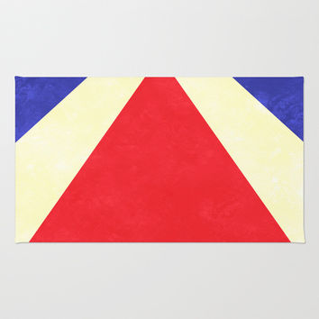 Red, Blue and Cream Rays Area & Throw Rug by Kat Mun
