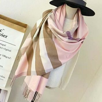 BURBERRY Trending Women Stylish Grid Print Cashmere Cape Scarf Scarves Shawl Accessories I-TMWJ-XDH