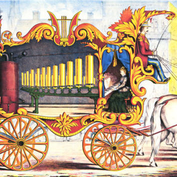 circus wagon woman playing pipe organ art print vintage reproduction carnival