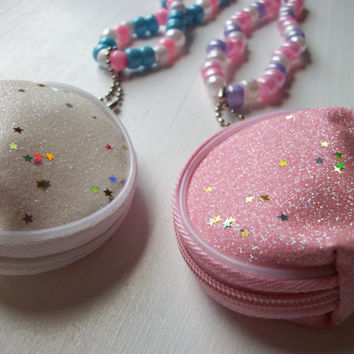 CHOOSE YOUR COLOR! Kandi Coin Purse Necklace White or Pink Kawaii, Rave, Cute, Pastel