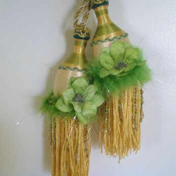 Vintage Tassels Tiebacks Theater Matching Pair  1970s Greens an Gold Velvet Flower Boa Feathers Metallic Golds Sateen Acrylic Beading Retro