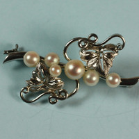 Cultured Pearl Brooch Silver Leaves and Vines Vintage