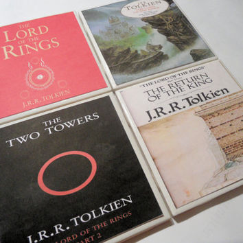 Lord of the Rings Book Covers Ceramic Coasters by myevilfriend