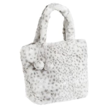 Fur Gray Snow Leopard Tote