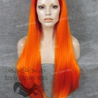 "30 inch Heat Safe Synthetic Straight Lace Front ""Hera"" in Red Rooted Fiery Orange"