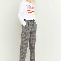 Light Before Dark Tie Front Grey Plaid Trousers - Urban Outfitters