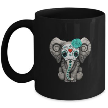 Blue Day of the Dead Sugar Skull Baby Elephant
