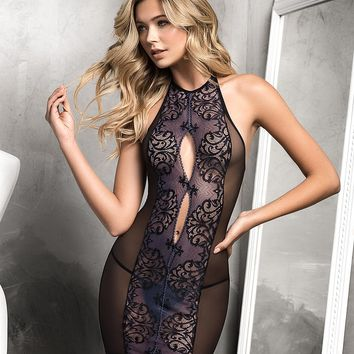 Mesh And Lace Halter Chemise