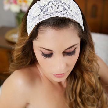Ivory Lace Cap, Ivory Headpiece, Vintage Lace Headband, Lace Crown, Ivory Veil Cap, Wedding Headpiece, Princess Grace - STYLE 024