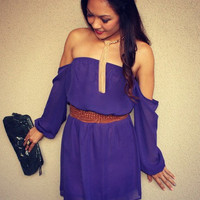 Off Shoulder 'Pixie' Dress (Violet)