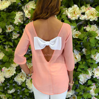 Sweet Dreams Pink Chiffon Bow Back Blouse