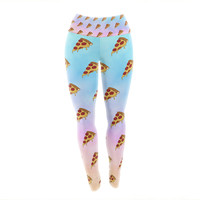 "Juan Paolo ""Lucid Pizza"" Food Pattern Yoga Leggings"