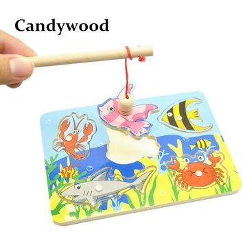 Kids Wooden Toys Educational Learning Wood Fishing Game Small Magnetic Puzzle Table Farm Brinquedo Fish Toys For Children