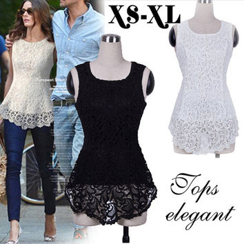 Women Peplum Tank Lace Top Shirt Trendy Blouse Sleeveless Embroidery Lace Flared Fitted Womens Tops