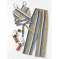 Cross Knot Striped Wrap Cami Top With Pants