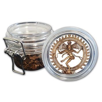 Airtight Stash Jar with Silicone Seal - Dancing Shiva Nataraj - Food-Grade Plastic with Locking Wire Top - Smell Proof Hermes Container