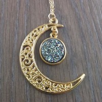 Gold Tone Moon Hanging Purple Teal Necklace