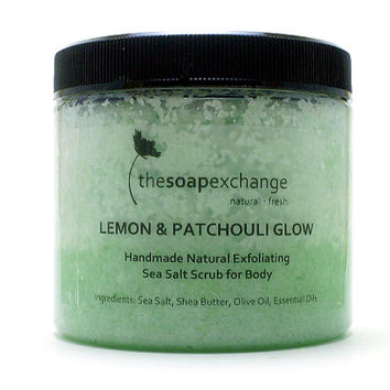 Lemon & Patchouli Glow Body Scrub 16 oz, Lemon Scrub, Sea Salt Scrub, All Natural Scrub, Handmade Scrub, Gift Scrub, The Soap Exchange