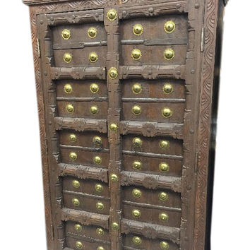 Old Door Brass Armoire Hand Carved Cabinet Storage Indian Furniture