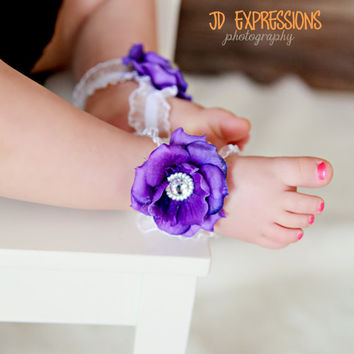 Barefoot Baby Sandals - Infant Sandals - Purple Baby Sandals - Bottomless Sandals - Baby Girl Sandals - Newborn Sandals - Baby Shoes