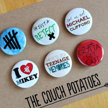 """5 Seconds of Summer 5SOS 1.25"""" Buttons 6 Pack - MICHAEL"""
