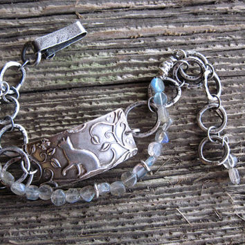 Silver Cat Bracelet with Labradorite Gemstones, Artisan crafted, Cat Jewelry, Original Design by RL Design Studio