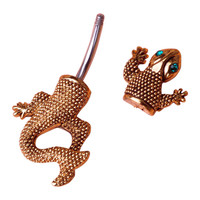 Belly Button Ring - Rhinestone Gecko Lizard
