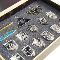 Legend of Zelda Keychain/necklace/ornament Collection Box Set (Silver Pieces With Wooden Box)