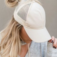 Messy Bun Baseball Hat - Beige Mesh