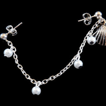 Sea shell Cartilage Earring Set With Chain and Pearls
