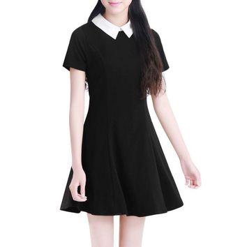 Black Dress White Collar Summer Cute Peter Pan Collar School Preppy Style Dresses Zipper Short Sleeve Brand Vestidos Femininos