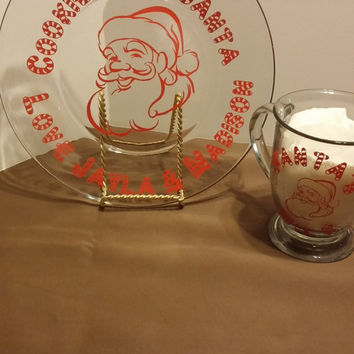 Plate and Cup for Santa, Personalized Christmas Santa Claus cookie plate with milk glass