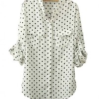 Loose Fit Chiffon Blouse with Dot Print and Stand Collar