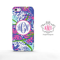 Monogram iPhone 5 Case in the garden inspired pattern, personalized monogram iPhone 5S Case, available for iPod Touch 4 iPod 5 Case