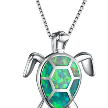STYLEDOME Women Blue Opal Turtles Necklace New Fashion Animal Wedding Jewelry 925 Sterling Silver Filled Necklaces Pendants Gift