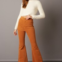 High Waist Corduroy Bell Bottom Pants