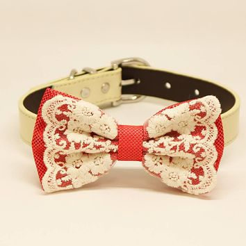 Coral Lace Dog Bow Tie, Pet Wedding collar, one of a kind handmade