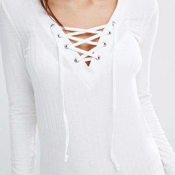 Only Lace Up Ribbed Jersey Top