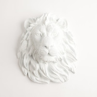The Walter - White Resin Lion Head- Resin White Faux Taxidermy- Chic & Trendy