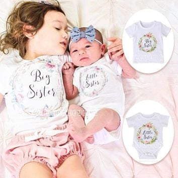 2017 Trendy Summer Baby Newborn Kids Print Short Sleeve Matching Clothes White Little Sister Romper Jumpsuit Outfits Set Big Sis