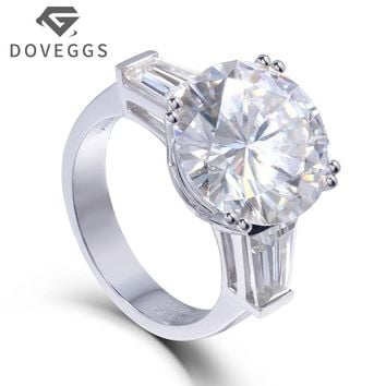 14K 585 White Gold 8 Carat Center 13mm F Color Round Brilliant Lab Grown Moissanite Diamond Engagement Ring 3 Stone Type