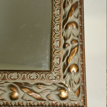 Boho Mirror Moroccan Style Ornate Wall Mirror 12x16 Shabby Cottage Bohemian Boho Decor Charming Carved Look