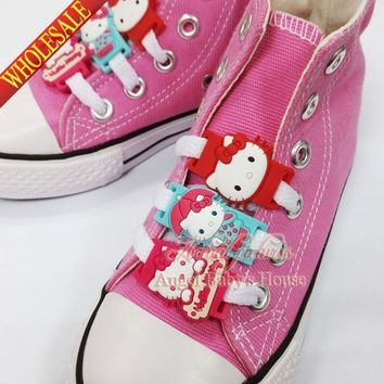 New Novelty 1pair 2pcs cute Cartoon Hello Kitty shoe lace accessorie pvc shoe buckle silicone laces Kids party favors