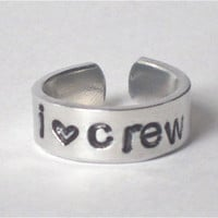 "rowing crew ring, medium sizes 6-8 adjustable crew ring, i ""heart"" crew ring, handstamped rowing ring, rowing jewelry, gift for rower"
