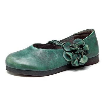 Retro Soft Flower Hook Loop Flat Leather Shoes